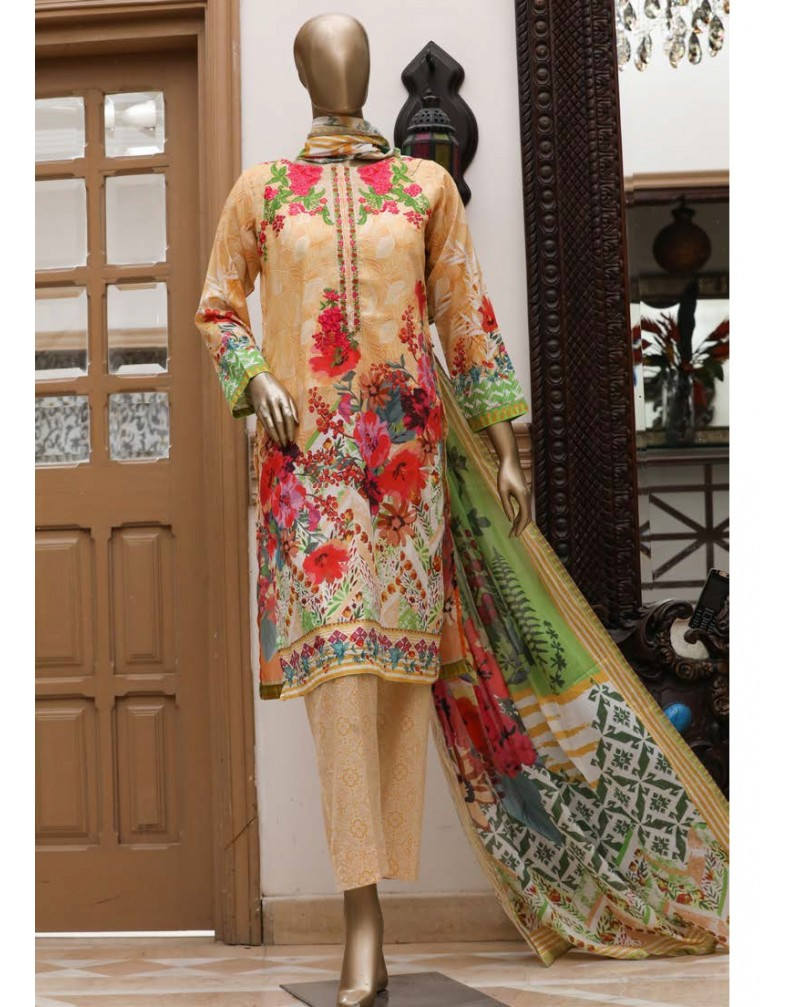 Summer Lawn by B Saeed unstitch 3 pc suite stitching charges extra with your measurements